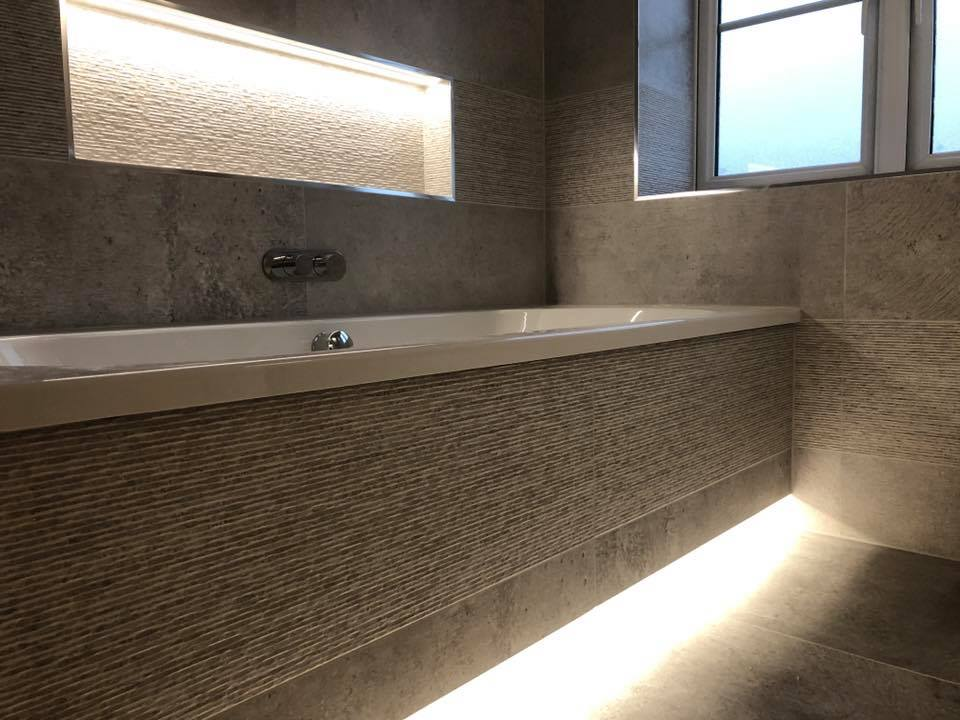 bath with feature light
